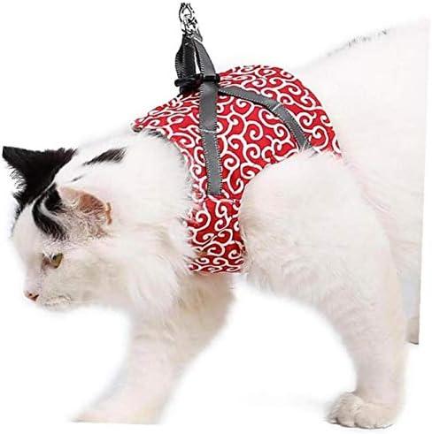 Cat Outdoor Wandelen Harness Set Pet Vest Harness Escape Proof Harness Vest met leiband voor katten Puppies Outdoor Walking Red S