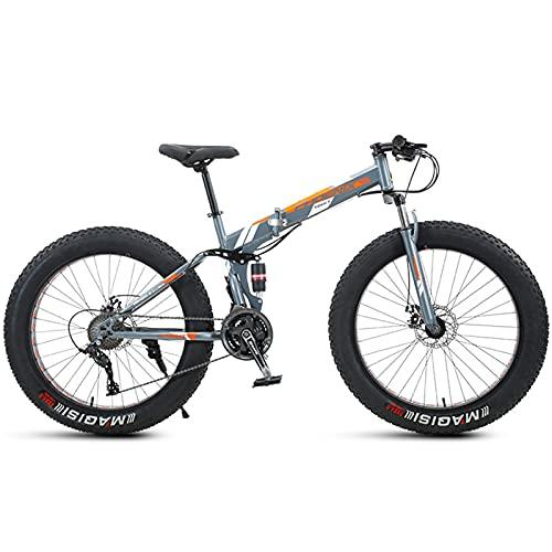 NENGGE Bicicleta de Montaña Plegable 24 Pulgadas, Adulto Hombre Mujeres Bicicleta BTT de Neumático Gordo, Doble Suspensión, Marco de Acero de Alto Carbono,Naranja,7 Speed