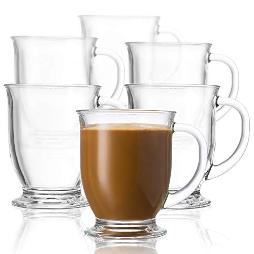 Kook Glass Coffee Mugs, with Handles, Clear Tea Cups, for Hot Beverages, Latte, Cappuccino, Espresso, Dishwasher Safe, Large, 15 oz, Set of 6