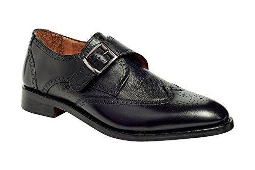 Anthony Veer Men's Roosevelt III Wingtip Monk Strap Goodyear Welt Black Leather Dress Wedding Formal Casual Shoes (11, Black Full Grain Calfskin Leather)