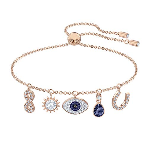 Swarovski Women's Symbolic Charm Bracelet, Brilliant White and Blue Crystals with Rose-gold Tone Plated Metal, from the Swarovski Symbolic Collection