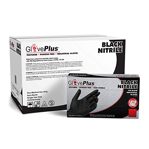 GlovePlus Industrial Black Nitrile Gloves, Box of 100, 5 mil, Size Large, Latex Free, Powder Free, Textured, Disposable, GPNB46100-BX