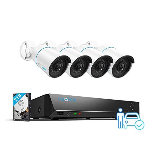 Reolink 5MP Kit Videosorveglianza IP PoE, Intelligente Rilevamento di persone e veicoli, 8CH 2TB 4K NVR e 4X 5MP Telecamera Esterno Impermeabile, Visione Notturna, Registrazione 24 7, RLK8-510B4-A