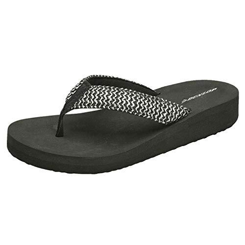 Dunlop Damen-Sandalen mit niedrigem Keilabsatz, - schwarz/silberfarben - Größe: 40 EU