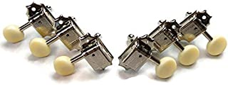 Kluson Guitar 3+3 Oval White Button Double Line Nickel Tuning Pegs Gibson