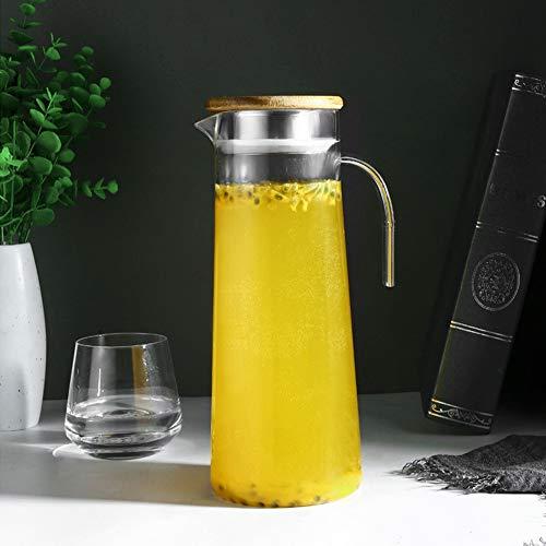 Jarra de jugo, botella de agua fría Material de alta calidad fácil de almacenar fácilmente en cualquier lugar con dos tipos de salidas de agua para fiestas(Bamboo cover)