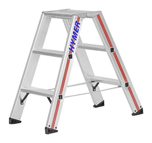 Hymer trapladder 2x3 sporten (aan beide zijden beloopbaar, versterkte treden, massieve gewrichten, spreidbeveiliging) 802406