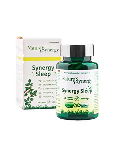 Synergy Sleep – Ashwagandha und Montmorency Schlafmittel, 60 Kapseln, vegan, ohne Melatonin und 5 HTP - entwickelt für empfindliche Körper, besser als Schlaftabletten, mit L-Tryptophan, B6, B12