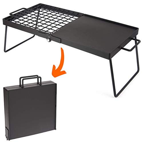 """Heavy Duty Large 24"""" Folding Campfire Grill. Camping Grill with Exclusive Folding Design for Compact Storage. This Camp Grill has a Grate and griddle Design for Versatile Cooking over a Campfire."""