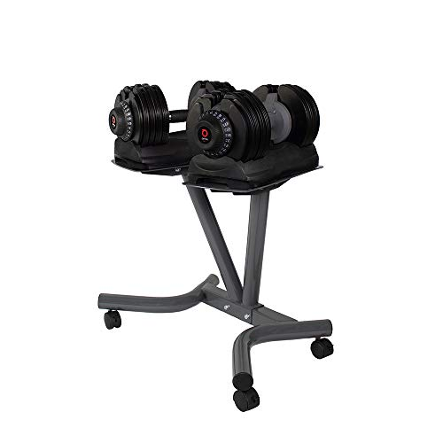 Profihantel DialTech Hantelsystem von 5 bis 32,5 kg mit Ständer | schnell verstellbar und platzsparend | Anti-Rutsch-Griff | 12 Hanteln in 1 | Lieferumfang: 2 Hanteln + 2 Ablageschalen + Ständer