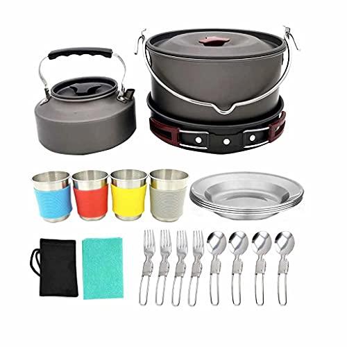 EODNSOFN 4-6 personas al aire libre Camping Cookware Kit portátil equipo de cocina tazón olla Pan mochilero equipo para senderismo