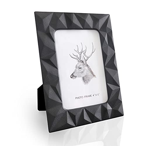 4x6 Picture Frames Black,Ceramic Photo Frame Wall Gallery for Home Decor,Display Stand on Tabletop Picture Frame 4x6,High Definition Glass Photo Frame for Home Living Room and Office Decoration,Wide Molding