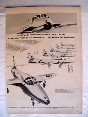 Antigua Hoja Publicidad Revista - Advertising Magazine Old Sheet : BIPLAZA HAWKER HUNTER. Año 1959