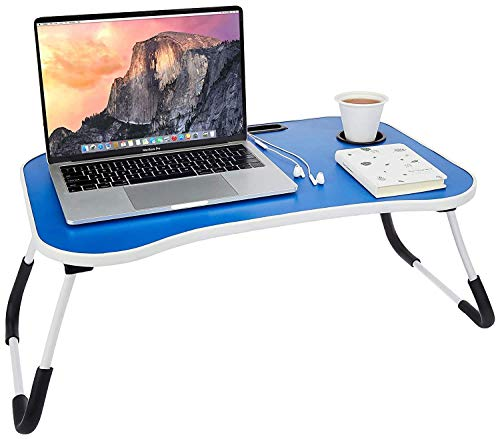 DARSHAN EXIM Multi-Purpose Laptop Table with Drawer, Bed Table, Wooden Foldable Bed Table, Lap Desk, Study Table, Portable Table.