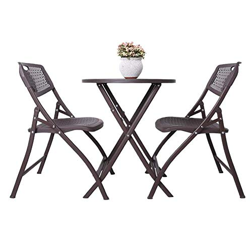 N/Z Daily Equipment 3 Piece Bistro Set Folding Tables Outdoor Chair Patio Steel Round Table Stackable Chairs 1 Table+2 Chairs