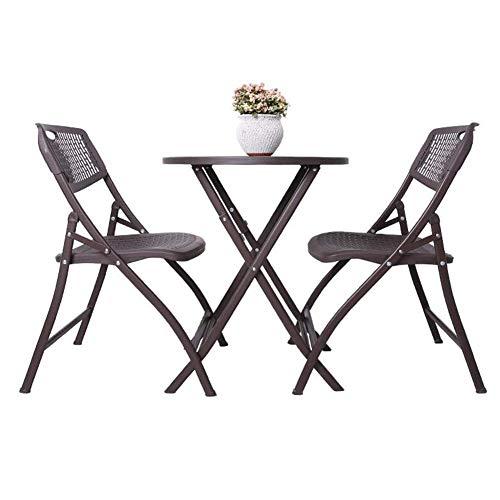 N/Z Tägliche Ausrüstung 3-teiliges Bistro-Set Klapptische Außenstuhl Patio Stahl Runder Tisch Stapelbare Stühle 1 Tisch + 2 Stühle