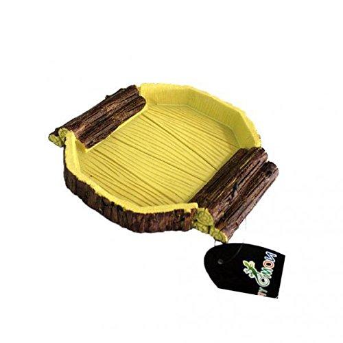 Fenteer 2 Pieces Reptile Feeding Bowl with Ramp, Food Water Resin Dish For Pet Vivarium Tortoise Gecko Snake
