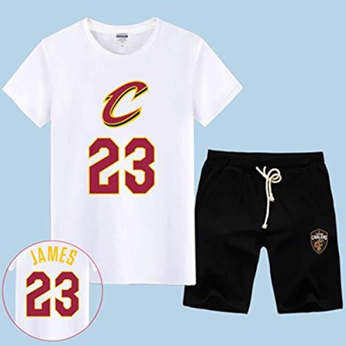 LLSDLS T-Shirt NBA Fan Trikot Set Cleveland Cavaliers Retired Commemorative Kurzarm Herren Sweatshirt James # 23 Basketball Halbarm Sport Set Blau-3-XXXXXL T-Shirt (Color : White-1, Size : XXXXXL)