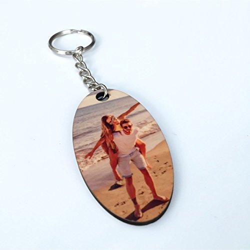 Saphirdesign Schlüsselanhänger aus MDF/HDF - mit Wunsch-Motiv-Bild-Logo. Geeignet als Werbe-Erinnerungs-Geschenk. Das perfekte individuelle Fotogeschenk. (Oval)