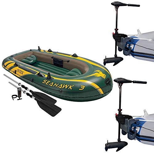 Review Intex Seahawk 3 Inflatable raft Set and 2 Transom Mount 8 Speed Trolling Motors