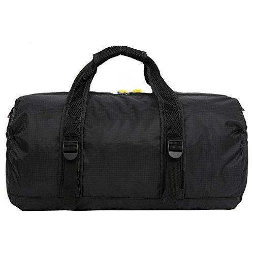 Lmeno® Nylon Impermeabile Borsa da sport Sacca da Viaggio pieghevole leggero in se stessa Duffel Bagaglio borsone per la corsa bagagli Palestra Sport Camping Nero