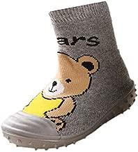 Fire Frog Infant Baby Cartoon Patterned Soft Rubber Bottom Anti-Slip Floor Socks Boots (6-8 Months, Short Bear Grey)