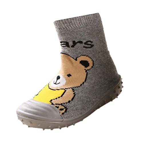 Leap Frog Floor Socks, Chaussures souple pour bébé (garçon) Gris 6-8 Meses