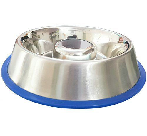 Mr. Peanut's Stainless Steel Interactive Slow Feed Dog Bowl with a Silicone Base, Fun Healthy Bloat Stop Feeder (Small)