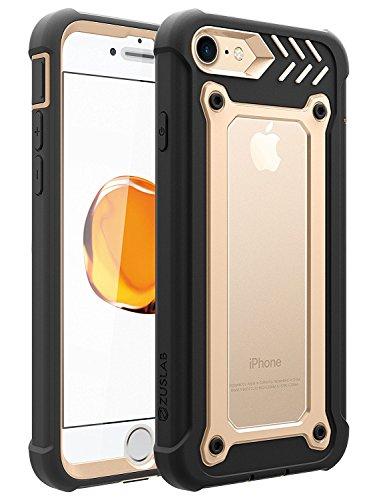 Funda iPhone 8 / iPhone 7, ZUSLAB Heavy Duty Doble Capa Cuerpo Completo Anti-Golpes Escabroso Híbrido Carcasa para iPhone 8 / iPhone 7 [Armor Shield][Dorado]