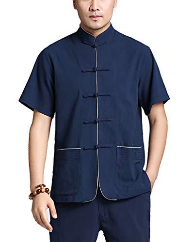 Tang Traje Hombres Tradicional Chino Ropa Trajes Hanfu Algodón Camisa de Manga Corta Abrigo De los Hombres Tops Kung Fu Tai Chi