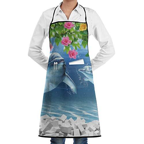 3d Vis Aquarium Ontwerp Keuken Bib Schort schorten Waterdrop Resistant Koken Bakken Crafting BBQ Voor Vrouwen Mannen Met Zakken Aangepaste