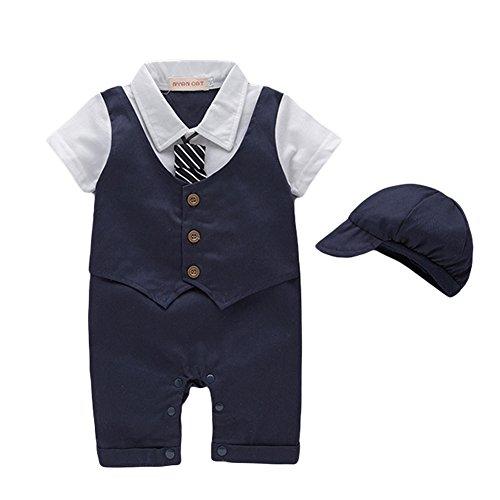 G-Kids Baby Jungen Strampler Smoking Gentleman Strampler Sommer Kleidung Outfit Taufkleidung Fliege mit Hut (Dunkelblau, 9-12 Monate/90)