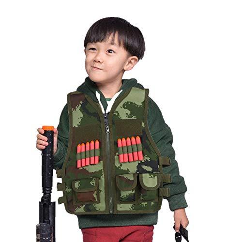 Taktische Weste für Kinder, Outdoor-Sport, taktische Weste, Jacke, Woodland Armee, Kampfweste, Trainingsweste mit 10 Stück Bullet Darts für Outdoor-Jagd, CS Spiele (Camouflage)