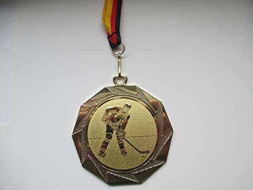 Fanshop Lünen 100 Stück Medaillen - Große Stahl 70mm - mit Alu Emblem 50mm (Gold) - Eishockey - Kinder - Herren - mit Medaillen-Band - (e103) -