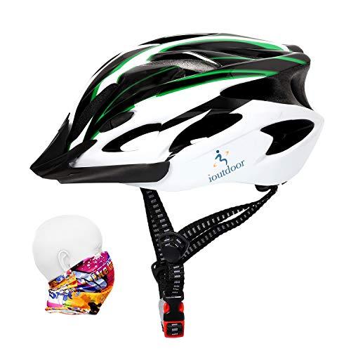 ioutdoor Casco da Bicicletta CE EN1078, Corpo in EPS + Guscio PC, Robusto e Ultraleggero, con Visiera Rimovibile, con Archetto Libero, Casco da Ciclismo Regolabile (56-64 cm)