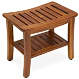 TeakCraft Teak Shower Bench with Shelf 21 Inch, Fully Assembled Teak Wood Shower Stool & Spa, The Hermod