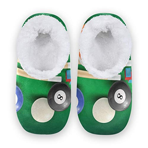 TropicalLife LZXO Herren Damen Plüsch Hausschuhe Geschlossen Sport Billiards Balls Pattern Memory Foam Slippers Winter Wärme Indoor Home Pantoffeln(Größe XL)