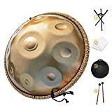 AS TEMAN HANDPAN, Handpan drum instrument in D Minor 9 Notes 22 inches Steel Hand Drum with Soft Hand Pan Bag, 2 handpan mallet,Handpan Stand,dust-free cloth,gold