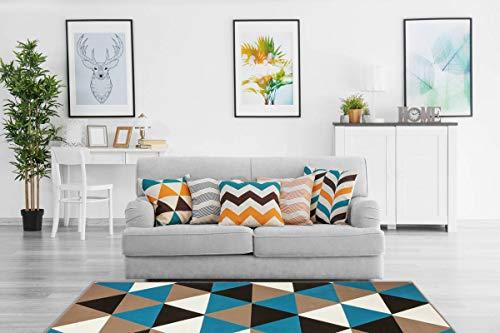One Couture Tapis Moderne à Poils Plats géométriques - Motif Triangle - Effet 3D - Turquoise - 80 x 150 cm