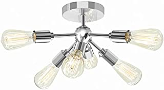 Style Selections Grayford 22.2-in W Brushed Nickel Semi-Flush Mount Light
