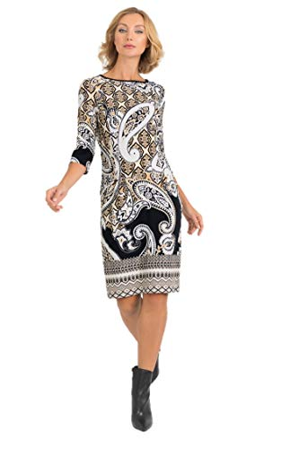 Joseph Ribkoff Black Tan & Ivory Dress Style - 193667 Fall 2019 Hot Styles (16)