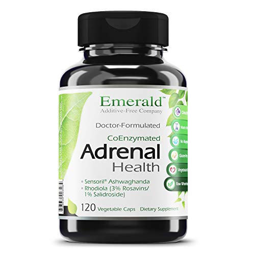 Emerald Labs Adrenal Health with Sensoril Ashwagandha, Vitamin B12, and Rhodiola for Adrenal Support, Stress Relief Support, and Mental Clarity - 120 Vegetable Capsules