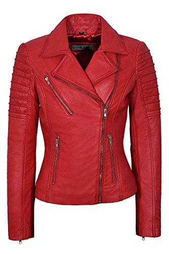 Chaqueta de piel auténtica para mujer con estilo de moda encerada suave estilo motocicleta chaqueta 9334
