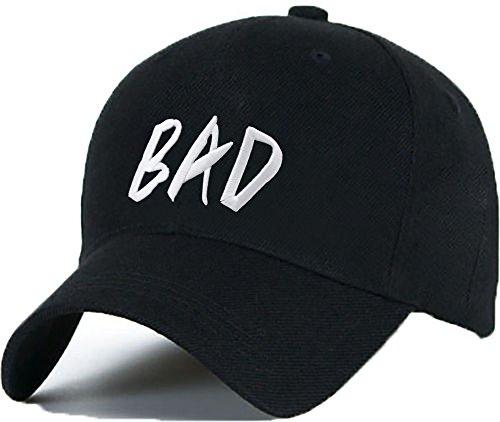 """Gorra de béisbol con texto en inglés """"BAD"""", gorra con una lengüeta ajustable de plástico, hip-hop (Ropa)"""