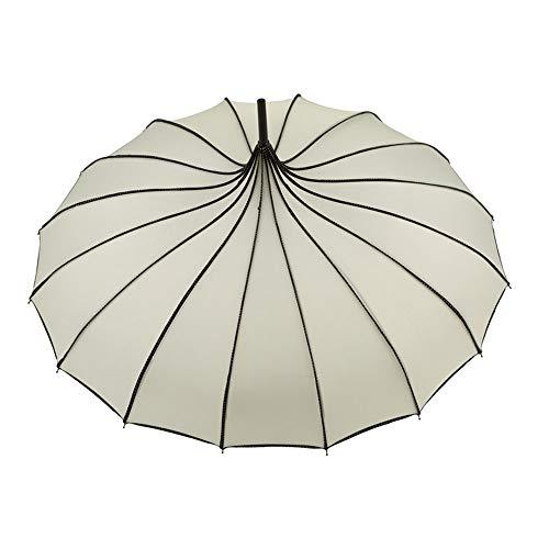LXMT Antike Mode Pagode Sonnenschirm Sonnenschirm 16 Knochen Langgriff Regenschirm Gerader Griff Außenschirm Mehrere Farbe,White