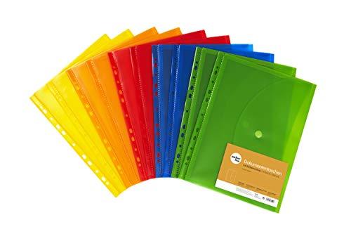 perfect line 10 Dokumenten-Taschen DIN-A4 mit Klett-Verschluss, Füllhöhe 20 mm, Klar-Sicht-Hüllen transparent & bunt, Prospekt-Hülle mit Klappe & Abheftrand, Sammel-Folie mit Dehn-Falte in 5 Farben