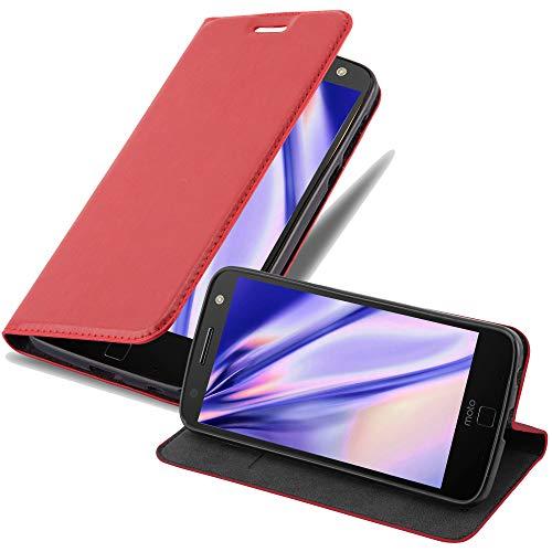 Cadorabo Hülle für Motorola Moto Z Force - Hülle in Apfel ROT – Handyhülle mit Magnetverschluss, Standfunktion & Kartenfach - Hülle Cover Schutzhülle Etui Tasche Book Klapp Style