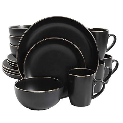 Gibson Dinnerware Set, 16 Piece, Black with Gold Rim