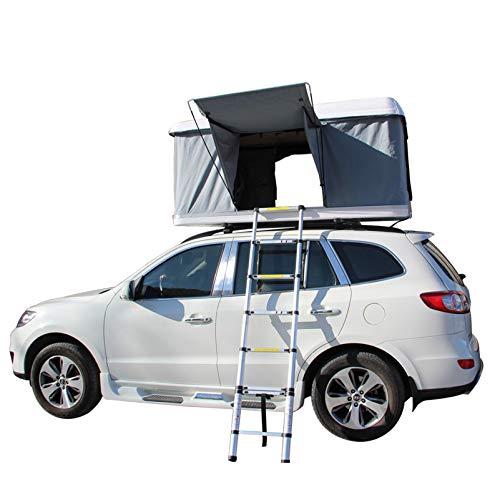 DBG 2-3 Personen Autodachzelt Hard Shell Automotive Hydraulische Dachzelt, mit Aluminiumlegierung Klappleiter, Grün-Zelt + Black Shell