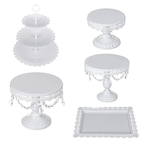 Lzcaure Soporte de la magdalena 5PCS Cake Stand Set para las decoraciones de la boda Kit de mesa blanco Decoración Proveedores para la fiesta de cumpleaños de la boda